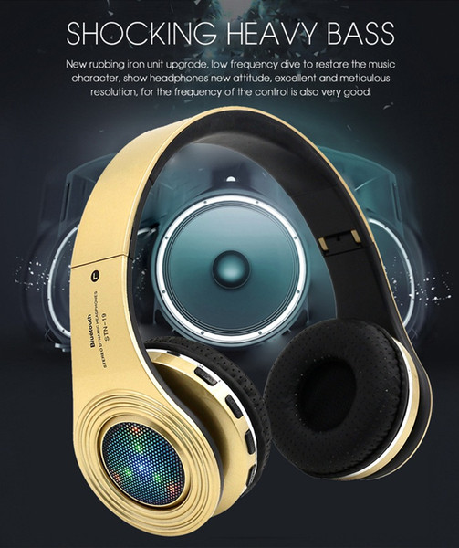 LED Light Bluetooth Headphones with Mic Wireless Stereo Hedsets Earbuds Shock Heavy Bass Bluetooth 4.2 Quick Connect Support TF Card MP3