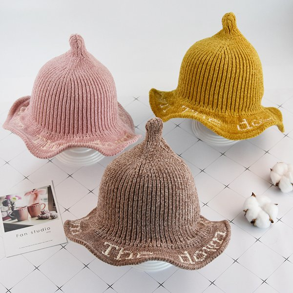New Children's hats autumn and winter kids knit hats boy and girl baby warm wool hat shade baby infant nipple cap kids beanies