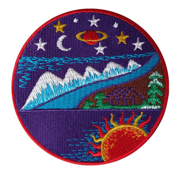 top popular 7CM Embroidery Patch Sew Iron On Mountain Night View Embroidered Patches Badges For Bag Jeans Hat T Shirt DIY Appliques Craft Decoration 2019