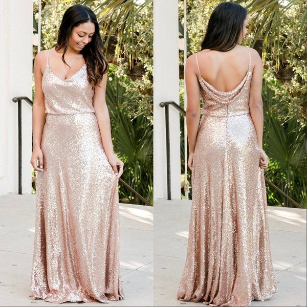 Rose Gold Sequins Bridesmaid Dresses Country Custom Made Wedding Party Guest Gown Junior Maid of Honor Dress Spagetti Straps Cheap