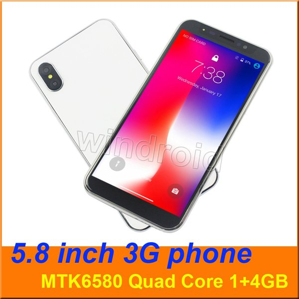 5.8 inch phone X 10 8 Quad Core MTK6580 3G smart phone 1+4GB Android 6.1 960*480 Dual SIM camera 5MP WCDMA gesture face unlocked mobile 10pc