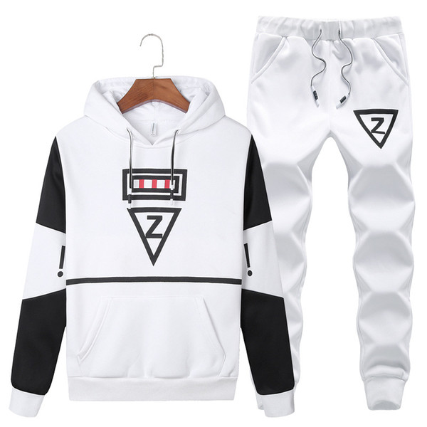 Size M-5XL Sportswear Autumn Mens Casual Sporting Suits Pockets Hooded Hoodies + Pants Two Piece Set Male Tracksuit