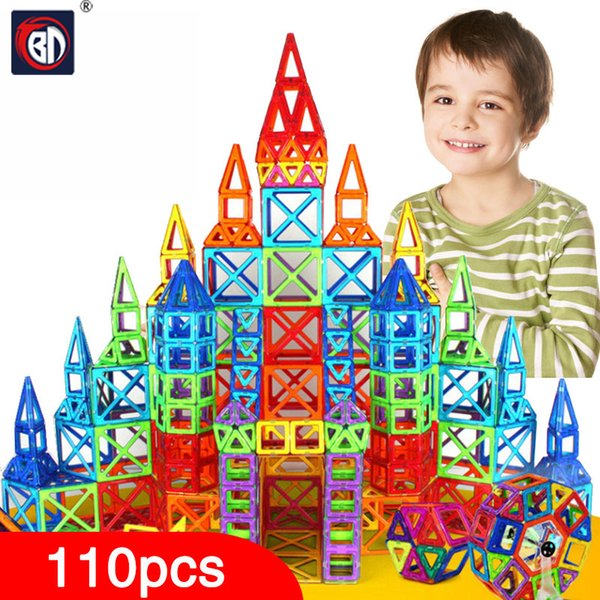 Wholesale-BD 110pcs Mini Magnetic Designer Construction Set Model & Building Toy Plastic Magnetic Blocks Educational Toys For Kids Gift