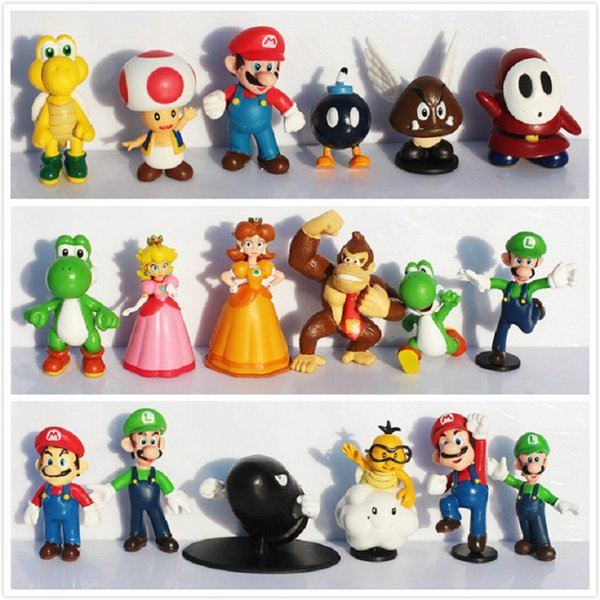 18pcs/set classical games figures Super Mario Bros yoshi dinosaur Peach toad Goomba PVC Action Figures toy collection toys kids gifts