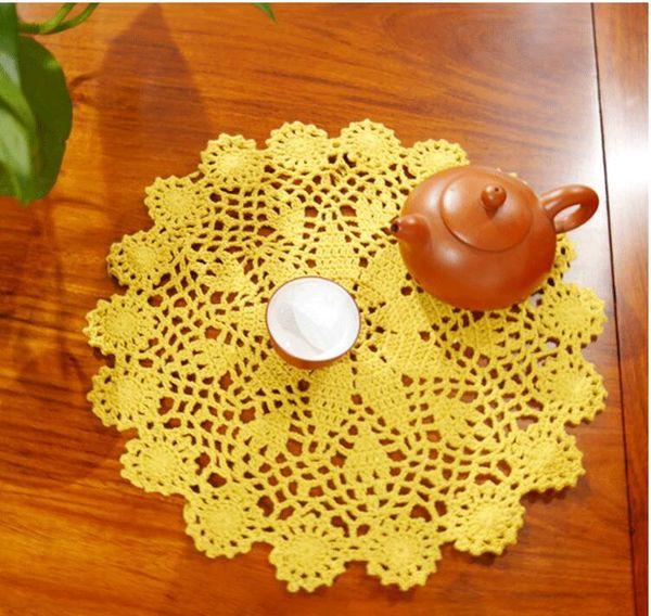 28-30cm Crochet table place mat cloth lace cotton placemat Cup mug holder round Christmas coaster doily pad wedding decor