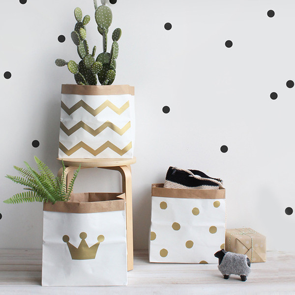 Crown Dot Wave Kraft Paper Bag Nordic style Storage Bag With Cartoon Tags Candy Bags Eco-friendly Drop Shipping LJJA1228