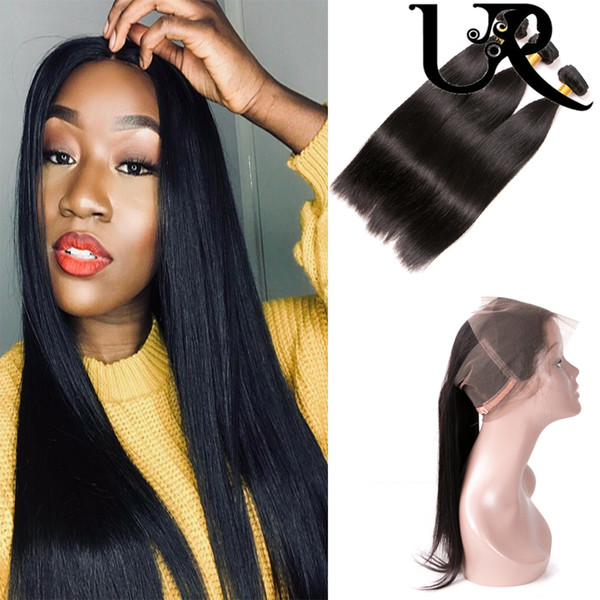 360 Full Lace Frontal Closure with Straight Hair Weaves Brazilian Filipino Malaysian Hair Straight and Frontals 8-28inch Natural Color