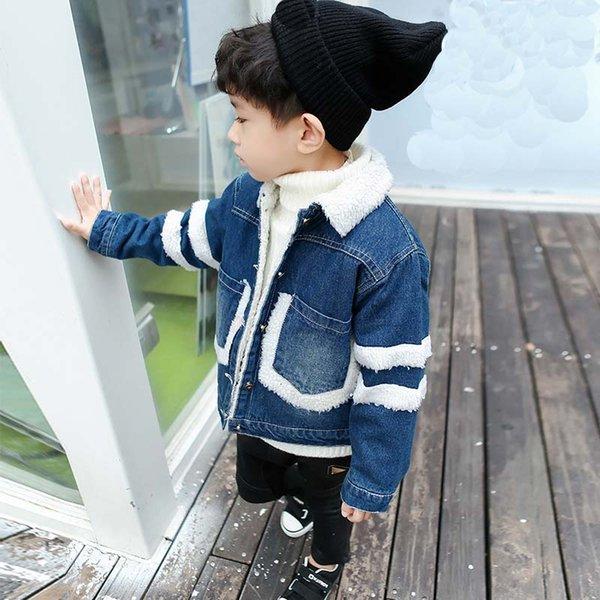 Meninos jaqueta de inverno menino jean jacket moda crianças casaco crianças roupas lã de cordeiro cowboy algodão denim outerwear crianças roupas