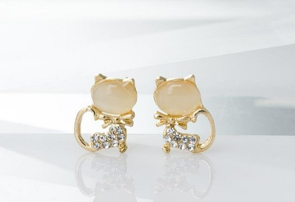 50 pair, New style Diamond insert jewelry Earrings design crystal stud Cat's eye stone Earrings Little cat shape Not fading zircon Ear Studs