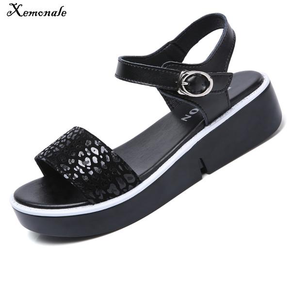 Xemonale 2018 Summer Women Sandals Women Platform Flat Sandals Shoes Women's Leopard Flat Wedges Heel Sandals Female Flip Flops