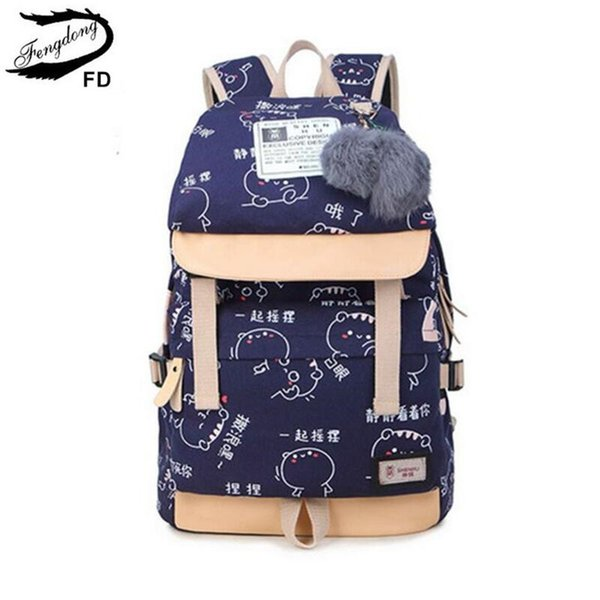 FengDong school bags for girls cute cat bag women canvas backpack children backpacks schoolbag kids school backpack for laptop S914