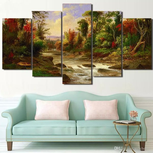 5 panel wall art on canvas Citadel in Forest Modular large Prints oil Paintings Modern HD Wall Artwork for Bedroom Home Decor Decorations