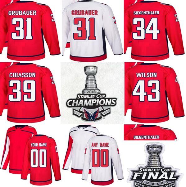 Campeões da Copa Stanley de 2018, Washington Capitals 31, Philipp Grubauer, 34 Jonas Siegenthaler, 39 Chelsson Alex, 43, Tom Wilson, Camisolas de Hóquei