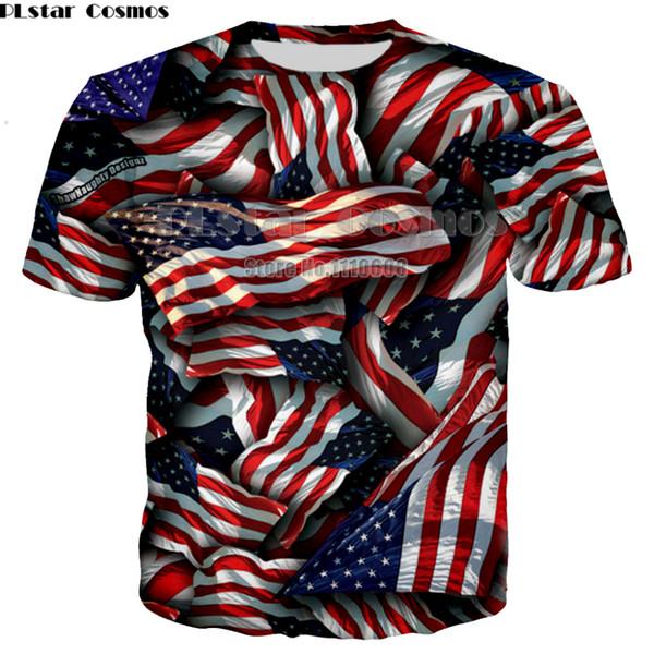 all'ingrosso T-shirt bandiera USA uomini / donne sexy maglietta 3d stampa a righe bandiera americana uomini maglietta estiva supera Tees Plus size