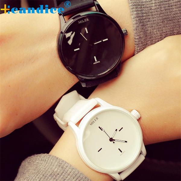 Black White Couple Relógios Tabelas Moda Harajuku Spell Color Analógico Big Dial Homens Mulheres Relógio de Silicone Relógio Relógio