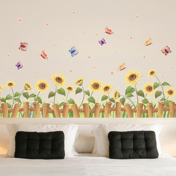 Creative Children Room Bedroom Cartoon Decorative Painting Cute Wallpaper Home Decor Cozy Golden Sun Flower Wall Stickers Easy To Use 2 Wall Art Decor