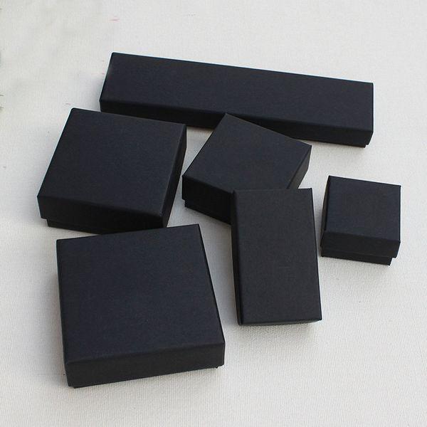 Bijoux cadeau et boîtes de détail noir Kraft emballage Bracelet collier collier oreille boîte à ongles cadeau de Noël Nouvel an personnaliser 10 taille Select