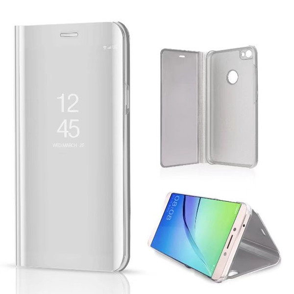 50pcs Luxury Mirror Clear View Case for Xiaomi Redmi 6 6A 6 Pro S2 A2 Lite Note 5 Note 5A Phone Cover Plating Base Vertical Stand