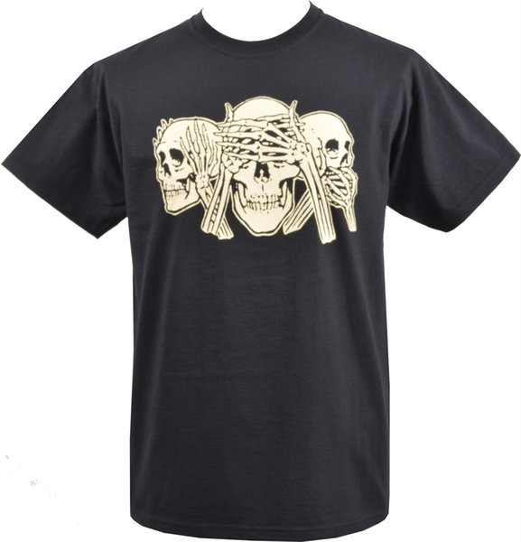 MENS BLACK T-SHIRT HEAR NO EVIL, SEE NO EVIL, SPEAK NO EVIL SKELETON S-5XL High Quality Casual Printing Tee shirts