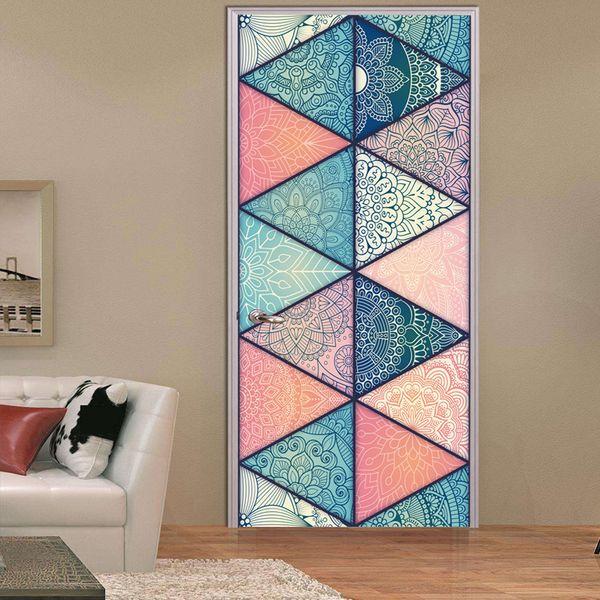 2 teile / satz 3D Islamischen Stil DIY Tür Kunst Wandaufkleber Simulation Arabischen Stil Tür Wandaufkleber Wohnzimmer Schlafzimmer Dekor Poster