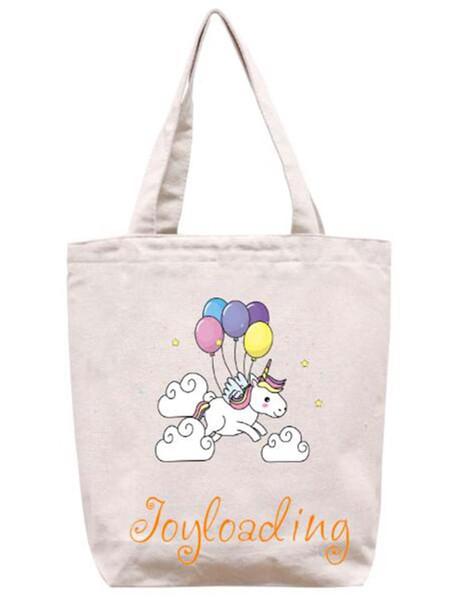 Joyloading Home Cartoon Unicorn Design Reusable Grocery Shopping Bag Zipper Closure Foldable Tote Bag