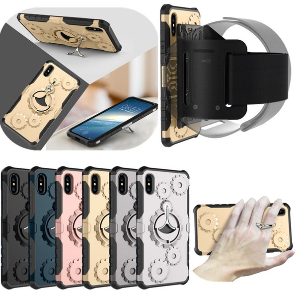 Mechanical Gears Kickstand Armband Case for iPhone X 8 7 Plus Rugged Combo TPU PC Holder Hybrid Armor Sport Shockproof Back Cover