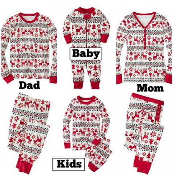 best selling Cartoon Family Suits Casual Home Clothes Printed Deer Pure Cotton Mom Button Long Sleeve Outfits Tights Baby Jumpsuits Autumn Suits