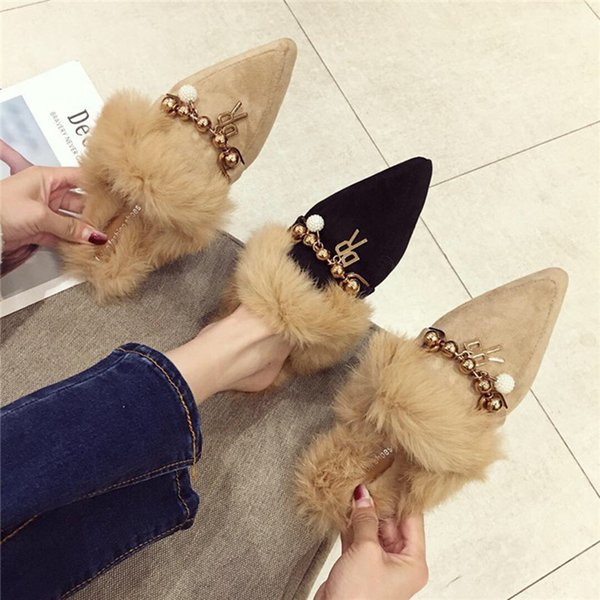 2018 Winter fashion Metal chain Women fur Slippers Women Sandals Pointed Toe Flats Mules Ladies Shoes zapatos de mujer tenis