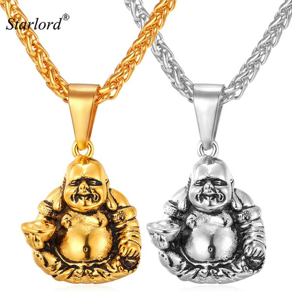 endant necklace Starlord Laughing Buddha Pendant Necklace For Men/Women Charms Buddhism Jewelry Gift Stainless Steel/Gold Color Chain GP1...
