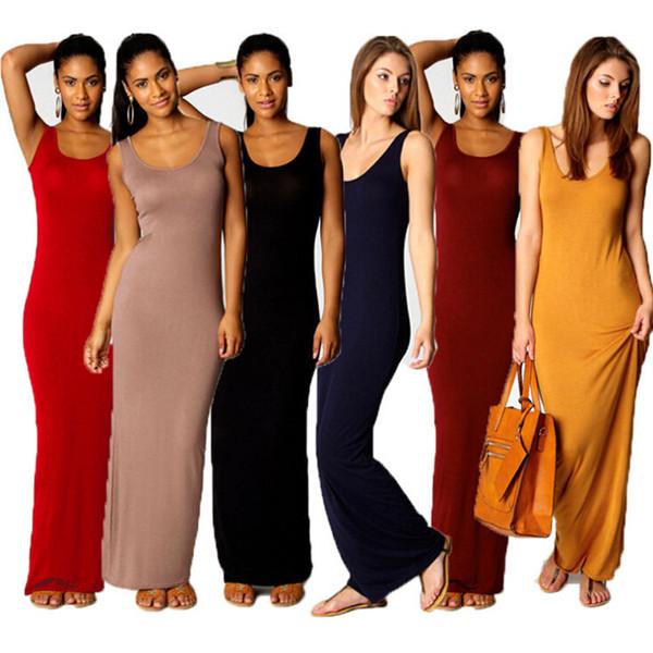 Sexy nightclub women summer dresses cotton tank maxi long bodycon dress ladies elegant plus size dresses for womens 14 colors 6 yards