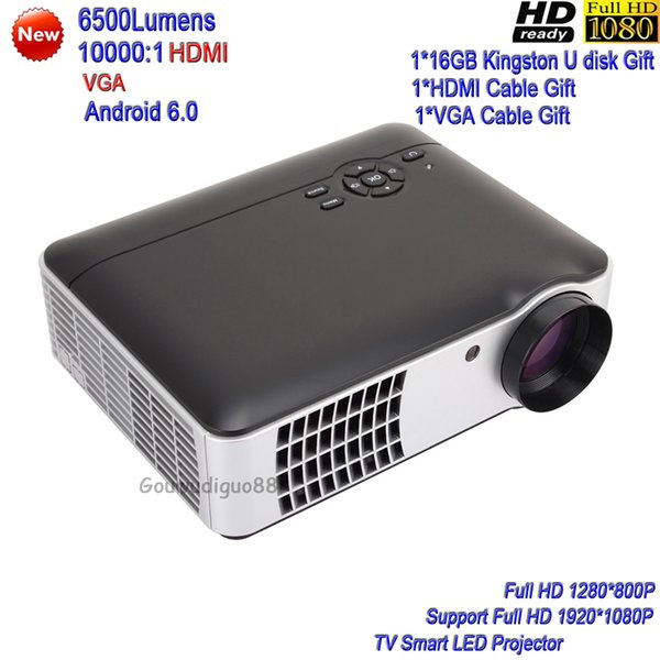 2018 New DLP 6500Lumens Home Theater Projector Full HD 1080P Digital Video WiFi Android 6.0 LED Projector HDMI