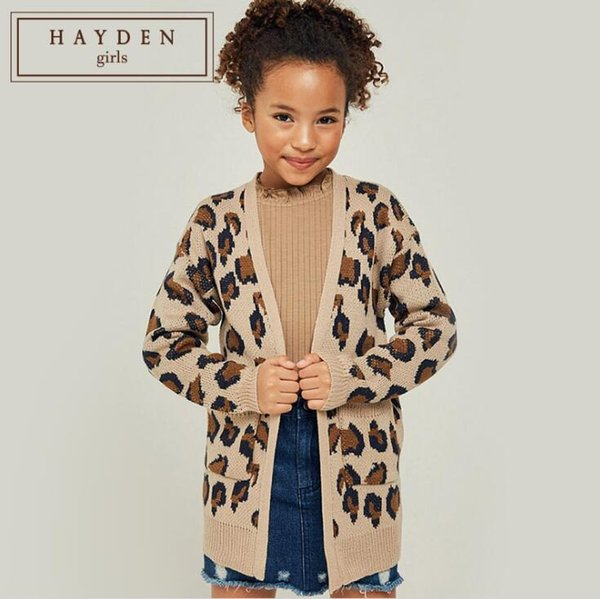 Teenager Knitted Leopard Cardigan Big Girl Knitting Fashion Outwear Autumn Pocket Junior Sweater Kids Clothing