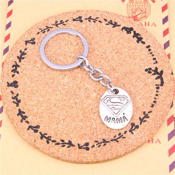Keychain superman mama Pendants DIY Men Jewelry Car Key Chain Ring Holder Souvenir For Gift