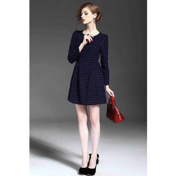 2018 Women Vintage Long Sleeve Dresses Dot A-Line Dress For Womens Clothing Free Shipping SK-0155 2XL