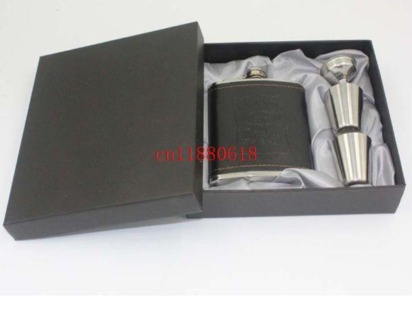 60 set / lote Fedex envío gratis Negro Faux Leather Wrap 7 oz frasco de cadera de acero inoxidable con 2 tazas + embudo