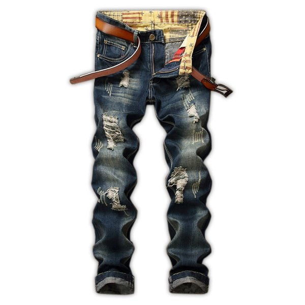 new arrival fashion Tide Break Jeans Beggar Retro Man Pants casual cotton high quality plus size 28 29 30 31 32 33 34 36 38 40