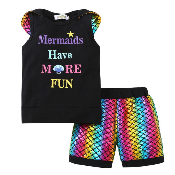 Baby letter Mermaid outfits children Rainbow fish scales Hooded top+shorts 2pcs/set 2018 Boutique kids Clothing Sets C3599