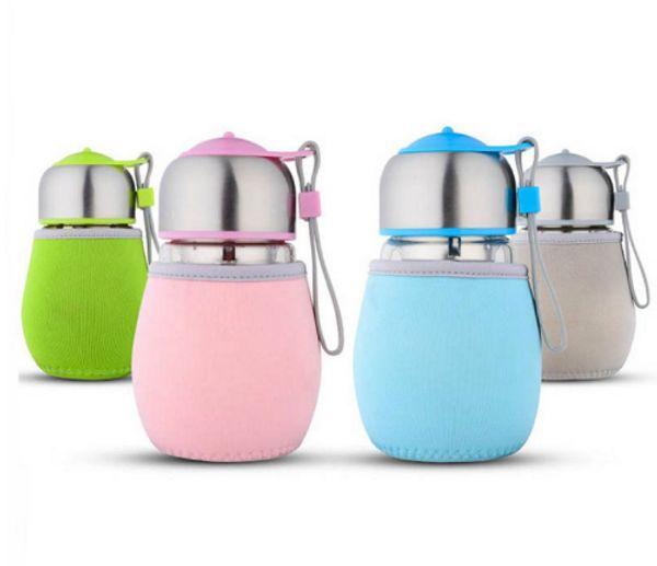 Glass Water Bottle Cute Penguin Style Bottles With Tea Strainer 420ml Sports Portable Little Bag Glass Bottle