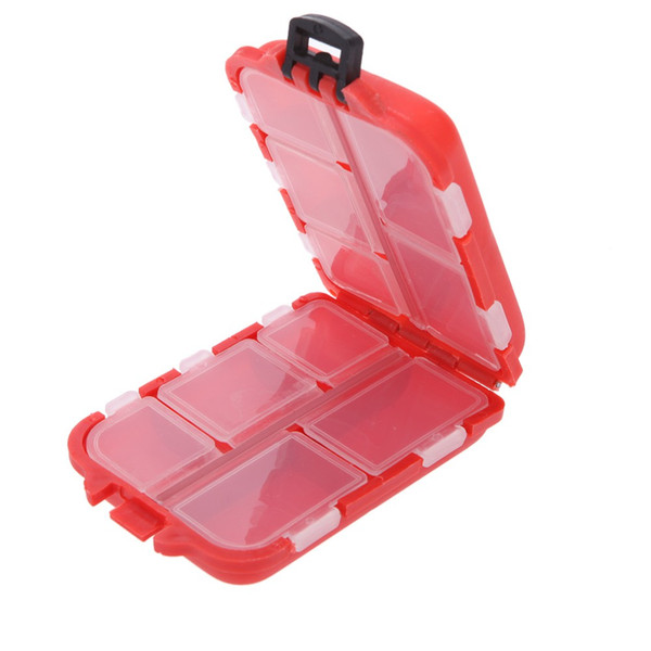 Y0339R Fishing Tackle Box 10 Compartments Small Size for Fishing Hooks Swivels Beads Etc Red Polowy Pudelko Caja De Aparejos De Pesca