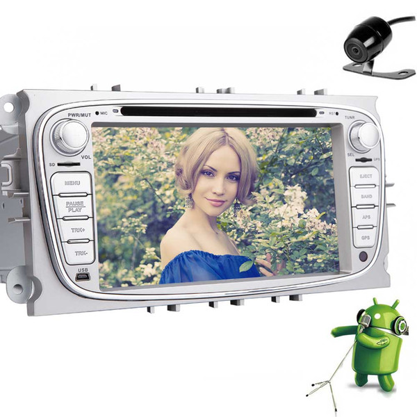 Backup Camera Double Din Car Stereo Android Marshmallow system 7'' Touch Screen Car DVD Player for Ford Focus In Dash GPS Navigation Auto