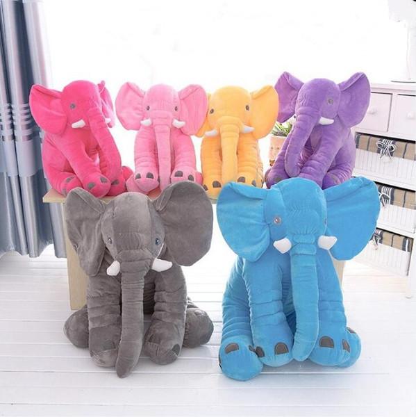 Bebê Travesseiro Dormir Brinquedo Elefante De Pelúcia Gigante 50 * 60 cm Animal De Pelúcia Macia Afago Brinquedo Do Bebê Dormir Macio Travesseiro Brinquedo 6 cores FFA132 30 pcs