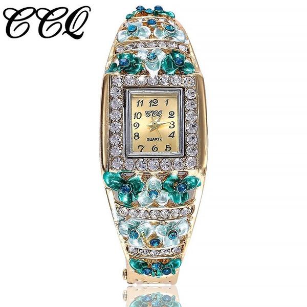 CCQ Brand Women Bracelet Watch Alloy Luxury Flowers Diamond Wrist Watches Female Square Style Quartz Watch