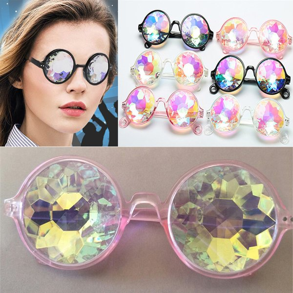 Retro Geometric Kaleidoscope Sunglasses Men Women Sunglasses Rainbow Lens Eyewear Festive Party Supplies Christmas Gift Free DHL WX9-948