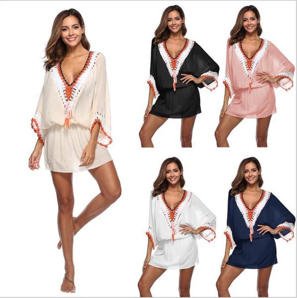Crochet Beach Dress Women Tassel Sunscreen Blouses Summer Fashion Bikini Cover-Ups V Neck Bat Sleeve Dresses Loose Casual Sexy Tops B4142