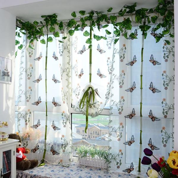 Großhandel Indoor Mode Schmetterling Tüll Vorhang Für Windows Roman Shades  Jalousien Gestickte Gardinen Küche Wohnzimmer Panel Von Carmlin, $28.15 Auf  ...