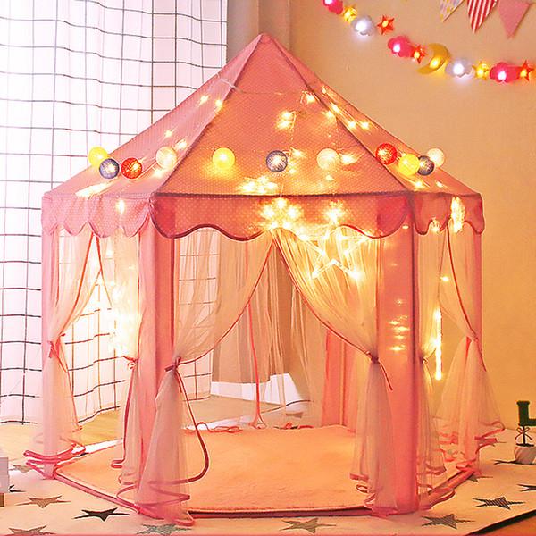 Tipi plegable para niños Carpa Play House Teepee Tiendas de juguetes portátiles para niños Baby Girl Boy Interior al aire libre Playhouse Princess Castle