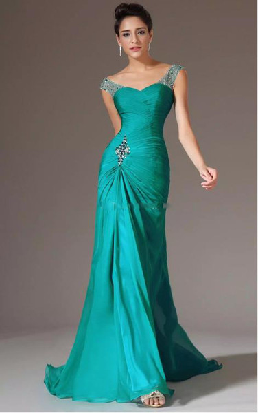 Mermaid formal dress V-neck Floor Length Turquoise Chiffon Cap Sleeve party Dresses Beaded Pleats Discount Prom Gowns dresses evening wear