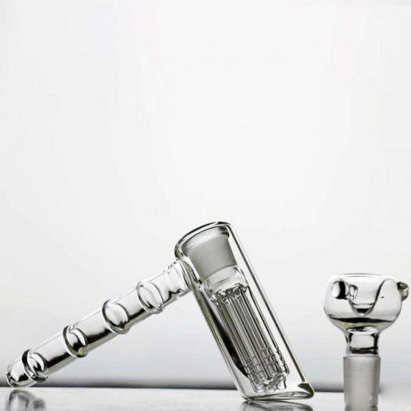 Mini Hammer Bubbler Glass Bongs Latest Fashion Tobacco 6 Arm-tree Percolators Smoking Bongs Oil Rigs Water Pipes Top Quality Cheap Hookahs