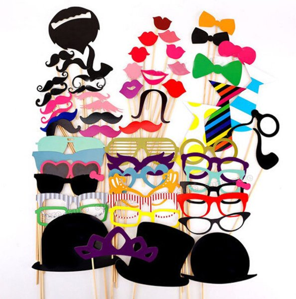 Photo Booth Props 58 Pieces Wedding Party Decor Funny Mustache Photobooth Birthday Party Decoration Kids Event Supplies