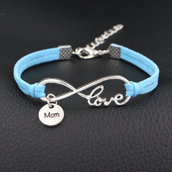 New Fashion Blue Leather Love Mom Bracelets Bangles for Women Men Personalized Infinity 8 Symbol Chain Jewelry Pulseira Feminina Party Gifts